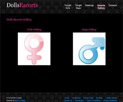 Web design for Dolls Escorts