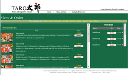 Web design for Taro Sushi